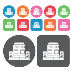 Audio system icon. Electronic devices icons set. Round and recta