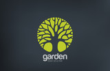 Green Circle Tree vector logo design. Garden logotype poster