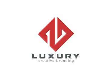 Luxury Jewelry logo design vector rhombus. Real estate icon