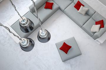 Deckenlampen über Sofa von oben
