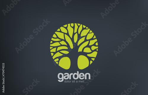 Green Circle Tree vector logo design. Garden logotype poster