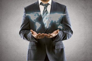 Businessman with world map. International business concept
