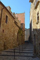Stairs in street in medieval Spanish village