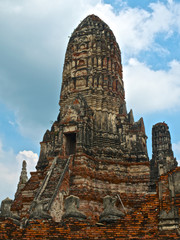 Fragment of Buddhist temple Wat Chaiwatthanaram, Thailand