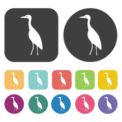 Crane icon. Farming icon set. Round and rectangle colourful 12 b