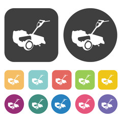 Lawn Mower icon. Farming icon set. Round and rectangle colourful