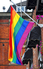 Rainbow flag proudly waving