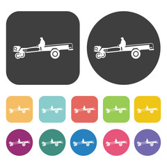 Tractor icon. Farming icon set. Round and rectangle colourful 12