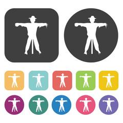 Scarecrow icon. Farming icon set. Round and rectangle colourful