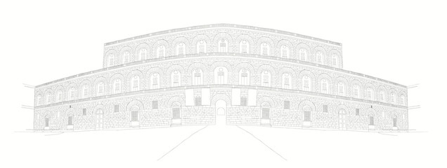 urban sketch of Palazzo Pitti in Florence, Italy
