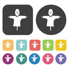 Scarecrow without legs icon. Farming icon set. Round and rectang