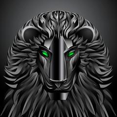 animals lion black technology cyborg  metal robot
