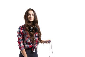 Young women with headphones.