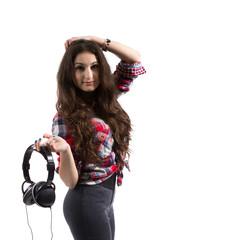 Women with headphones.