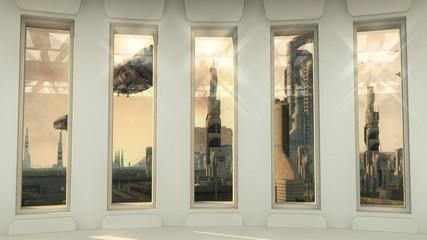 Futuristic windows and city