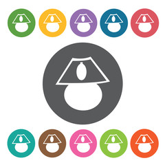 Night Lamp icon. Furniture home icon set. Round colourful 12 but