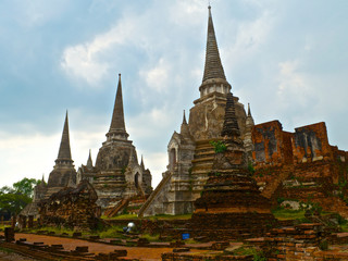 View on the three chedi in Wat Phra Sri Sanphet in Ayutthaya