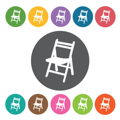 Folding chair icon. Furniture home icon set. Round colourful 12