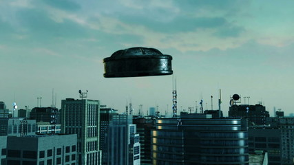 UFO flying over a modern city