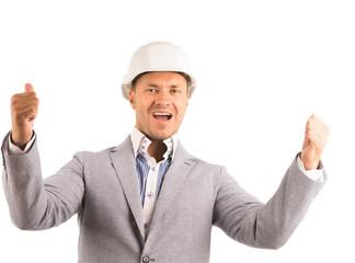 Enthusiastic engineer showing thumbs up on white