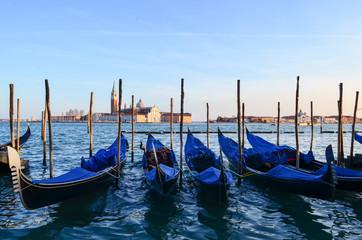 Row of Gondolas on Grand Canal, Italy