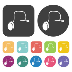 Testicles icon. Human organ icons set. Round and rectangle colou