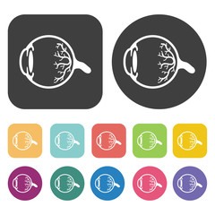 Eyeball icon. Human organ icons set. Round and rectangle colourf