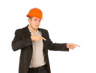 Man Wearing Orange Hard Hat Pointing to the Side