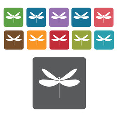 Dragonfly icon. Insect icon set. Rectangle colourful 12 buttons.