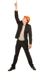 Middle Age Engineer in Orange Helmet Pointing Up
