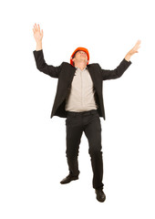 Very Happy Young Male Engineer on White Background