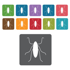 Cockroach icon. Insect icon set. Rectangle colourful 12 buttons.