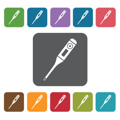 thermometer icon. Medical icons set. Rectangle colourful 12 but