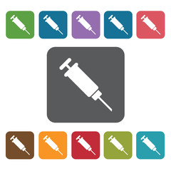 Syringe icon. Medical icons set. Rectangle colourful 12 buttons.