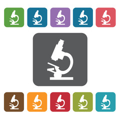 Microscope icon. Medical icons set. Rectangle colourful 12 butto