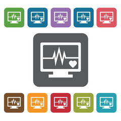 Ecg icon. Medical icons set. Rectangle colourful 12 buttons. Vec