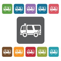 Ambulance icon. Medical icons set. Rectangle colourful 12 button