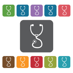 Stetoscope icon. Medical icons set. Rectangle colourful 12 butto
