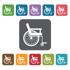 Wheel chair icon. Medical icons set. Rectangle colourful 12 butt