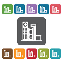 Hospital icon. Medical icons set. Rectangle colourful 12 buttons