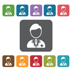 Doctor icon. Medical icons set. Rectangle colourful 12 buttons.