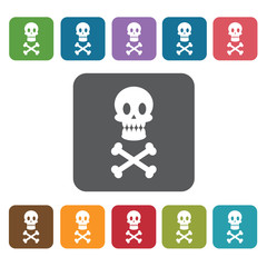 Poison icon. Medical icons set. Rectangle colourful 12 buttons.