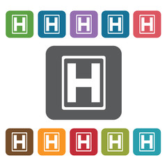 Helipad icon. Medical icons set. Rectangle colourful 12 buttons.