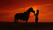 Silhouettes of woman and her horse at sunset in the field