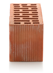 red clay bricks on white background