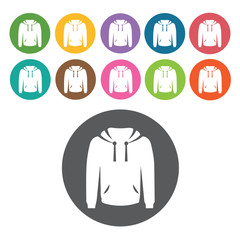 Hoodie icon. Mens clothes icons set. Round colourful 12 buttons.