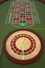 Roulette table in a casino. High resolution 3D render