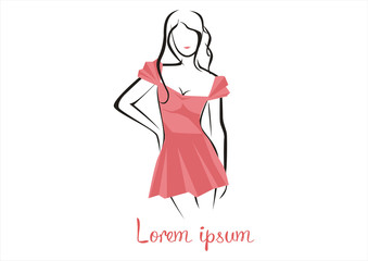 Fashion woman in a pink dress logo vector illustration