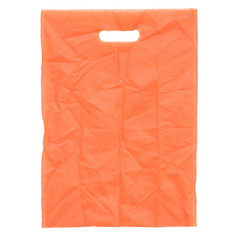 Orange fabric bag isolated on white with clipping path.