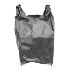Black plastic bag isolated on white with clipping path.